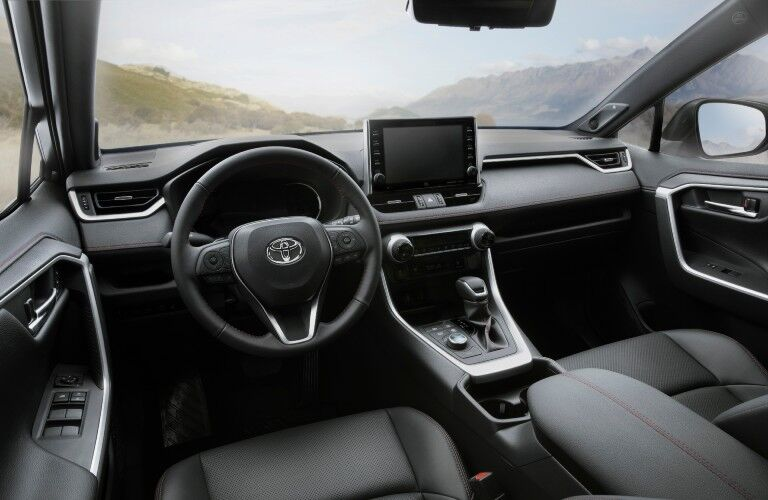 A photo of the technology available in the 2021 Toyota RAV4 Prime.