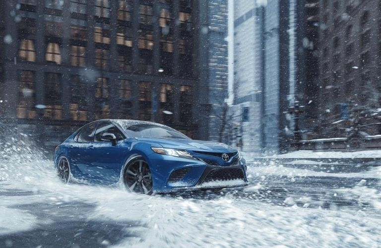 2020 Toyota Camry driving in winter