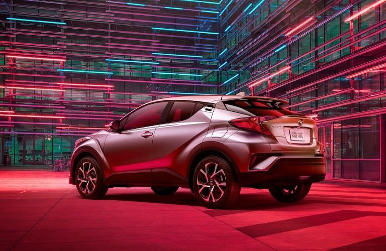 Exterior view of the rear of a gray 2020 Toyota C-HR