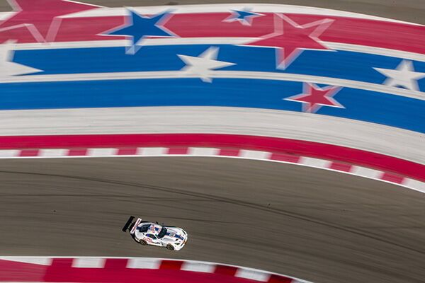 viper racing on a red, white and blue patriotic track