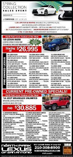 North Park Lexus of San Antonio- Pre-Owned Specials