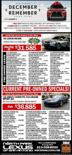 North Park Lexus of San Antonio- Pre-Owned Specials