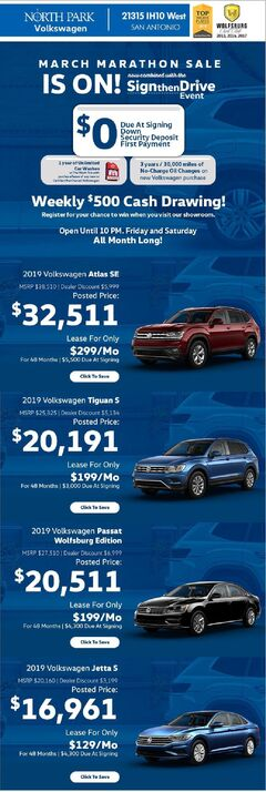 North Park Volkswagen New & Pre-Owned Specials