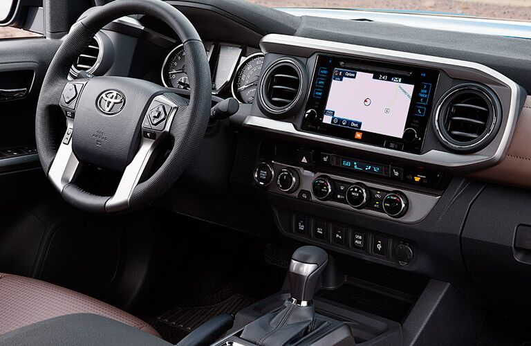 The interior of the 2016 Toyota Tacoma San Jose CA is sporty and high-tech.