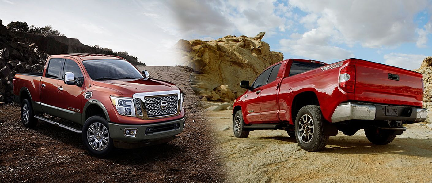 2016 nissan titan comparison toyota tundra full size heavy duty pickup turbo diesel v8 cummins towing payload
