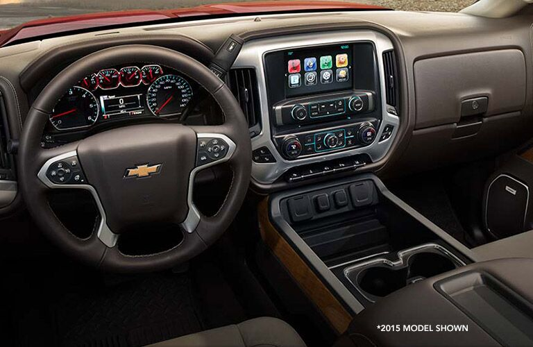 Interior view of controls on the Chevy Silverado