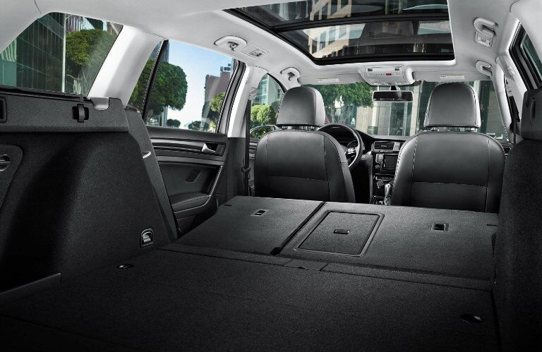 The rear of the 2015 Volkswagen Golf SportWagen Allentown PA has even more space with the seats folded