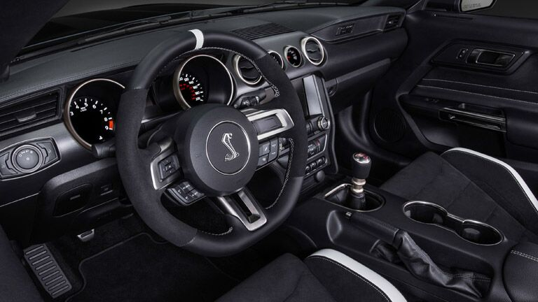 Even the interior of the 2016 Ford Shelby GT350 Mustang in Tampa FL is exciting.