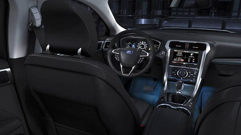 The interior of the 2015 Ford Fusion is high-tech and slick.