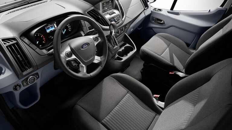 Interior of the 2015 Ford Transit cargo van