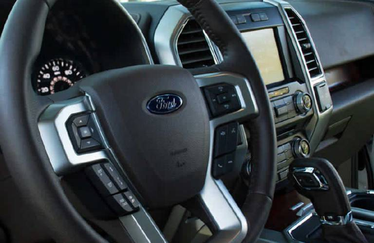 2016 F-150 steering wheel and dashboard view Akins Ford