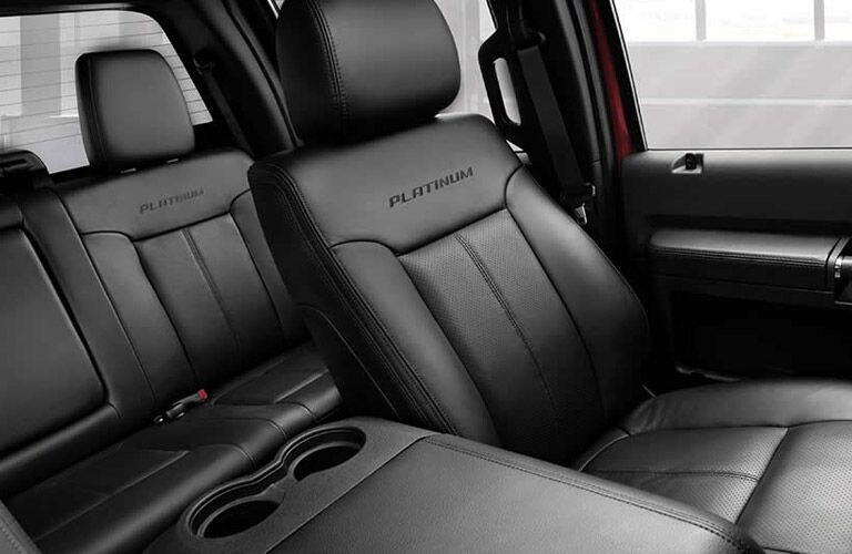 Leather upholstery on the 2016 Ford F-250 Super Duty