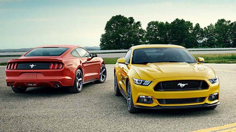 2016 Ford Mustang in red and yellow