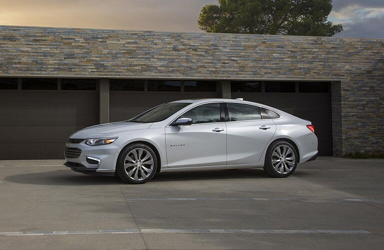 2016 Chevy Malibu silver from the side