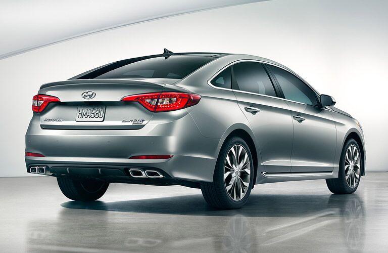 2016 Hyundai Sonata from the rear in silver