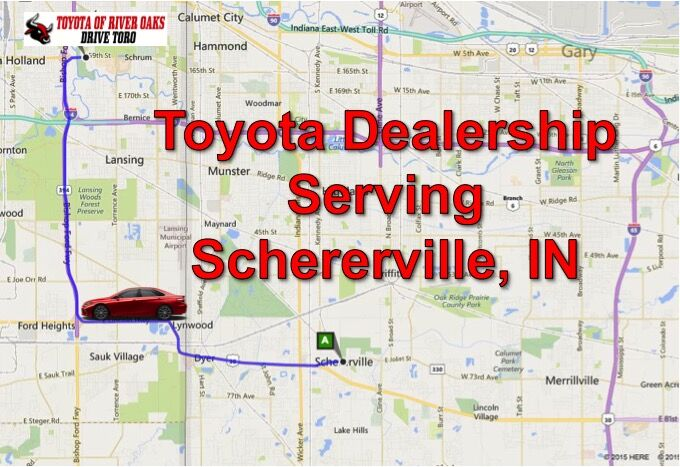 Directions from Schererville to our Toyota Dealership