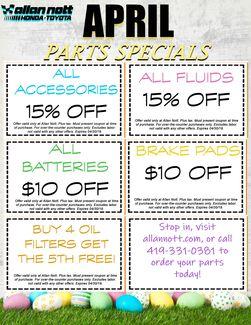 April Parts Specials