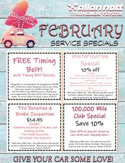 February Service Specials