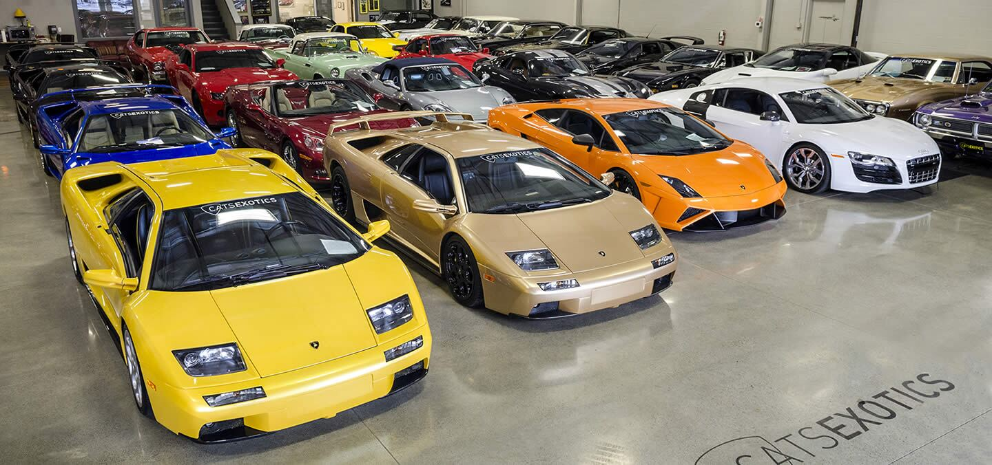 Cats Exotics showroom featuring classic cars, lamborghini vehicles, and rare exotics all lined up.