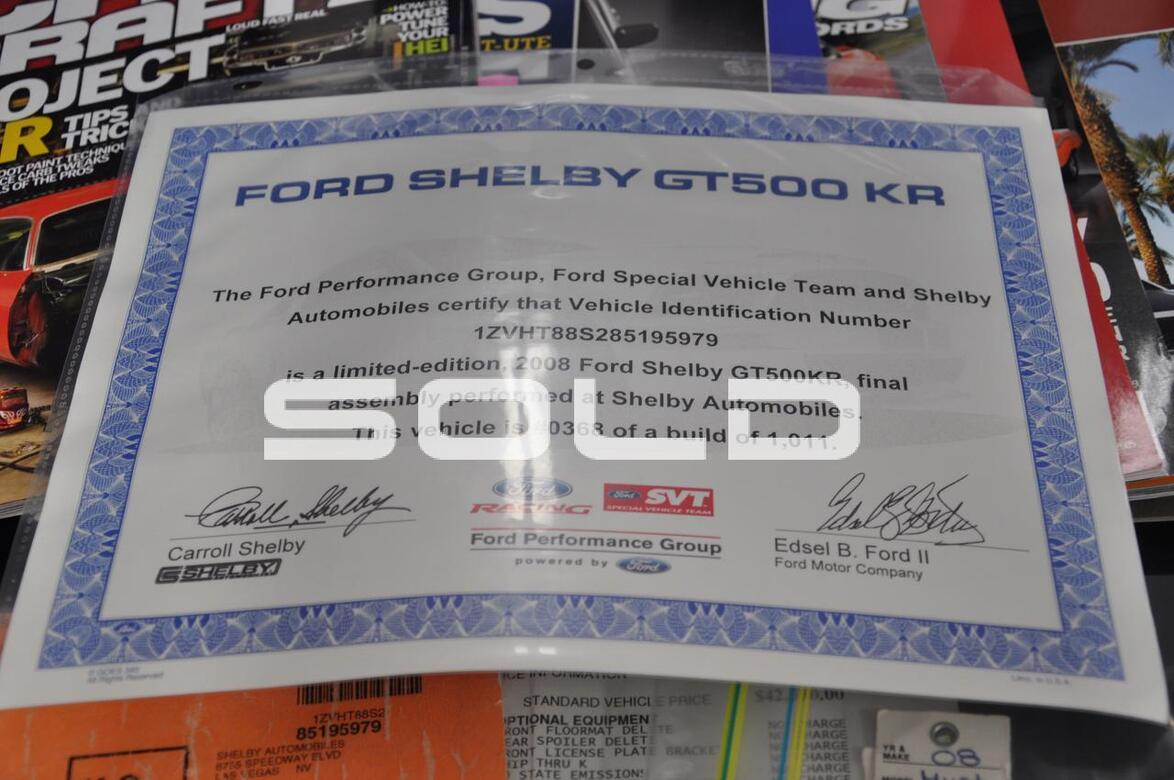 2008 Ford Mustang Shelby GT500 KR Tomball TX