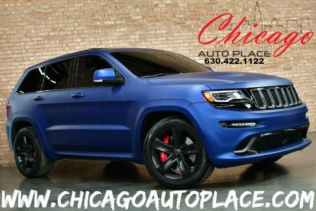 2015 Jeep Grand Cherokee SRT - ORIGINAL MSRP:$72,615 6.4L V8 SRT HEMI MDS ENGINE 4WD NAVIGATION CUSTOM SUPER LOUD EXHAUST BACKUP CAMERA CUSTOM MATTE BLUE WRAP SEPIA BROWN LAGUNA LEATHER HEATED SEATS PANO ROOF Bensenville IL