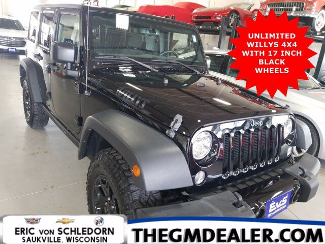 2016 Jeep Wrangler Unlimited Unlimited Willys Wheeler 4WD w/17sBlackWheels AlpineSound 3-PieceHardTop Milwaukee WI
