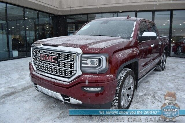 2017 GMC Sierra 1500 Denali / 4X4 / Crew Cab / 6.2L V8 / Heated Leather Seats & Steering Wheel / Navigation / Sunroof / Bose Speakers / Auto Start / Lane Departure & Collision Alert / Power Running Boards / Tow Pkg / 1-Owner Anchorage AK