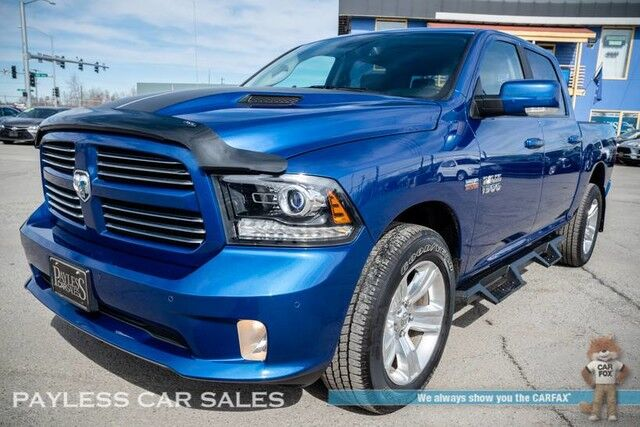 2017 Ram 1500 Sport / 4X4 / Crew Cab / Heated & Cooled Leather Seats / Heated Steering Wheel / Sunroof / Alpine Speakers & Subwoofer / Auto Start / Uconnect Bluetooth / Back Up Camera / Tow Pkg / 1-Owner Anchorage AK