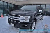 2018 Ford F-150 Platinum / 4X4 / FX4 Pkg / Turbo Diesel / Auto Start / Heated & Cooled Massaging Seats / Heated Steering Wheel / Lane Departure & Blind Spot / Adaptive Cruise / B&O Speakers / Sunroof / Navigation / Canopy / 1-Owner