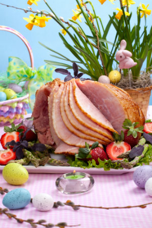 A ham ready to be eaten on Easter