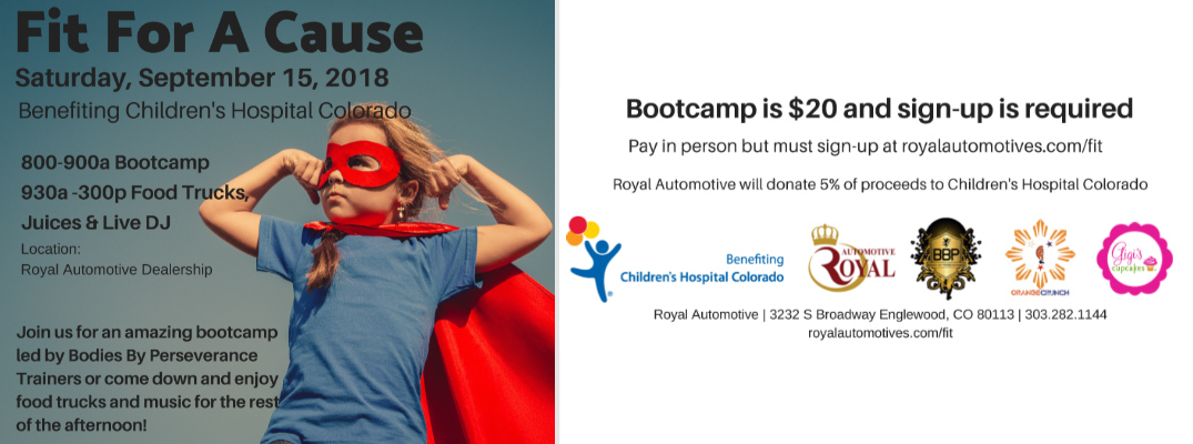 """Get in Shape at Royal Automotive's """"Fit For A Cause"""" Children's Hospital Colorado Fundraiser"""
