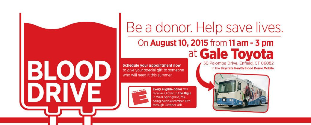 Gale Toyota Charity Blood Drive Enfield CT-Blood Drive-Community Events-Dealership Events-Baystate Health Blood Donor Mobile-New toyota Dealer-Hartford CT-Springfield MA