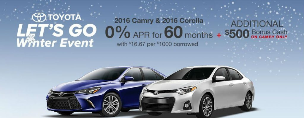 2016 Toyota Let's Go Winter Sales Event Enfield CT at Gale Toyota-Toyota Camry and Toyota Corolla Let's Go Winter Sales and Incentives