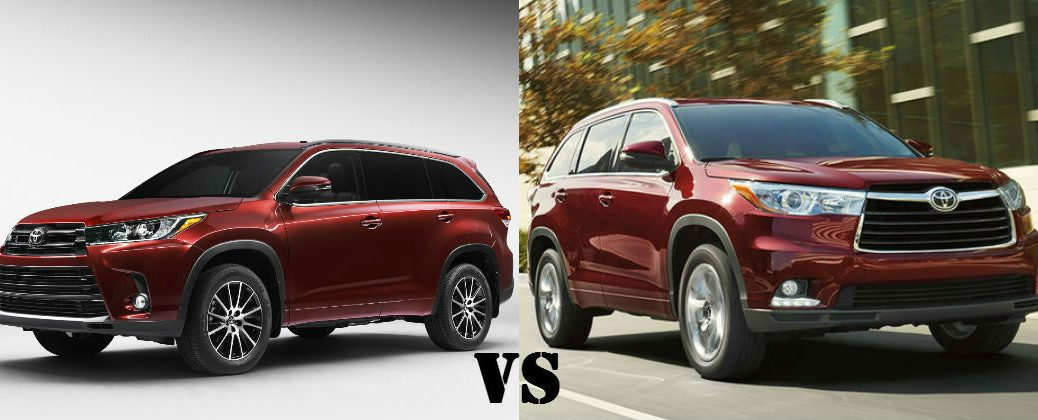 Compare 2017 Toyota Highlander and 2016 Toyota Highlander at Gale Toyota-Enfield CT-Salsa Red Pearl 2017 Toyota Highlander SE vs Red 2016 Toyota Highlander