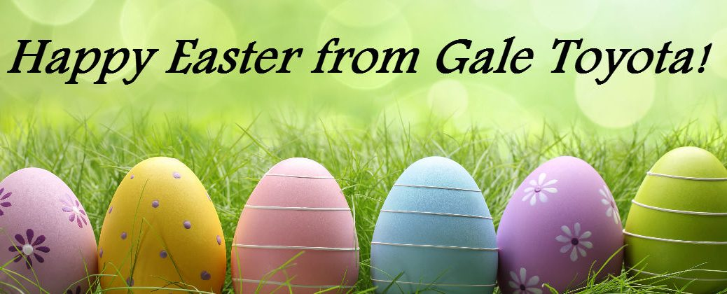 2016 Easter Events Enfield CT at Gale Toyota-Easter Eggs in the Grass with Happy Easter Banner