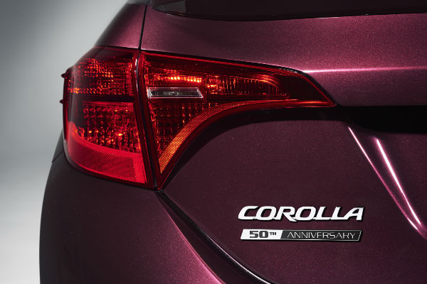 Black Cherry 2017 Toyota Corolla 50th Anniversary Edition Rear Exterior Badge