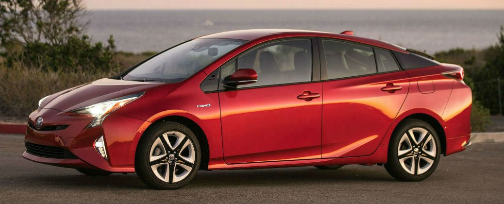 Red 2016 Toyota Prius Four Touring Side Exterior