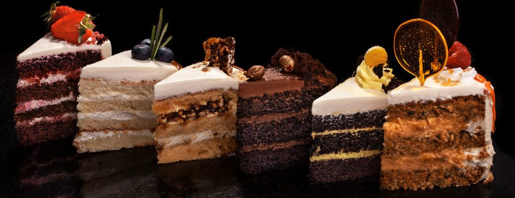 Six slices of cake in different flavors