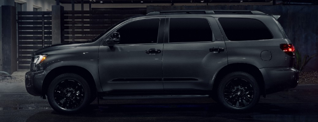 Side view of dark grey 2021 Toyota Sequoia Nightshade Edition