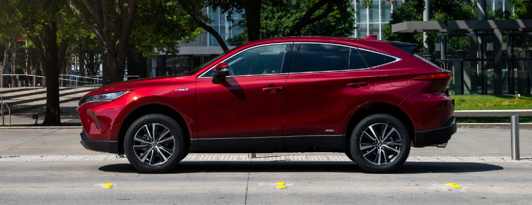Side view of red 2021 Toyota Venza