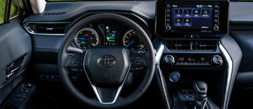 Steering wheel, gauges, and touchscreen in 2021 Toyota Venza