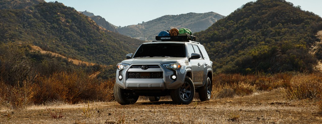 Silver 2021 Toyota 4Runner with mountains in the background