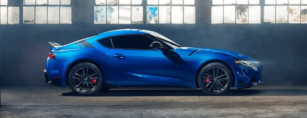Side view of blue 2021 Toyota GR Supra