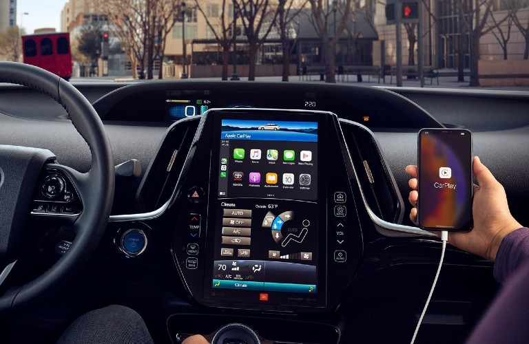 smart phone connected to multimedia device inside Prius Prime