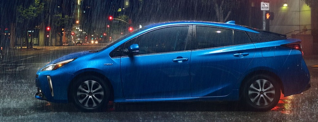 Side view of a blue 2021 Toyota Prius