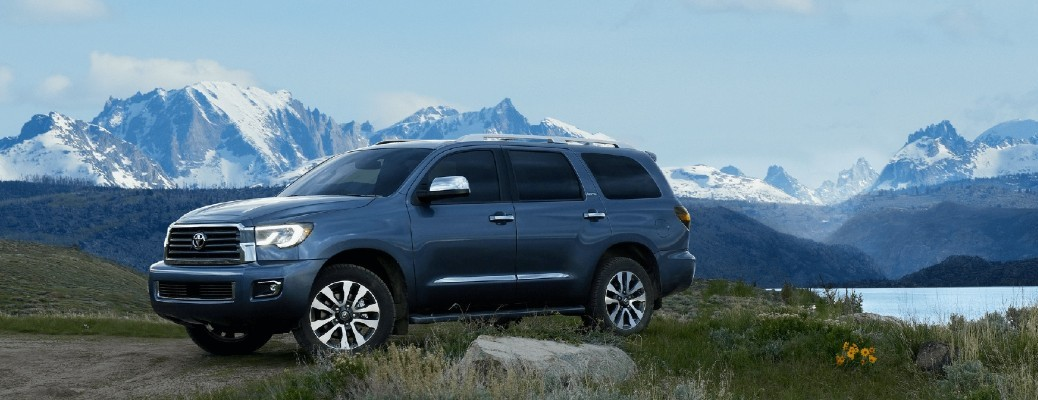2021 Toyota Sequoia parked in front of mountain scenery