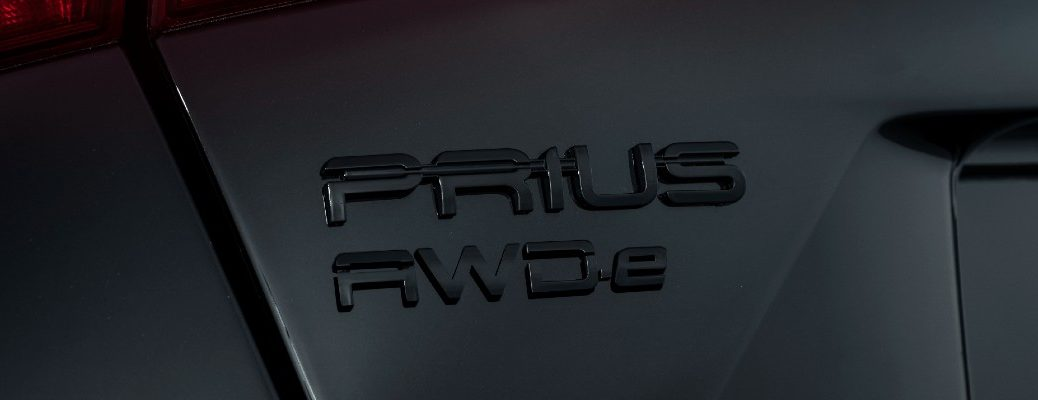 The Prius badged used on the 2022 Toyota Prius Nightshade Edition.