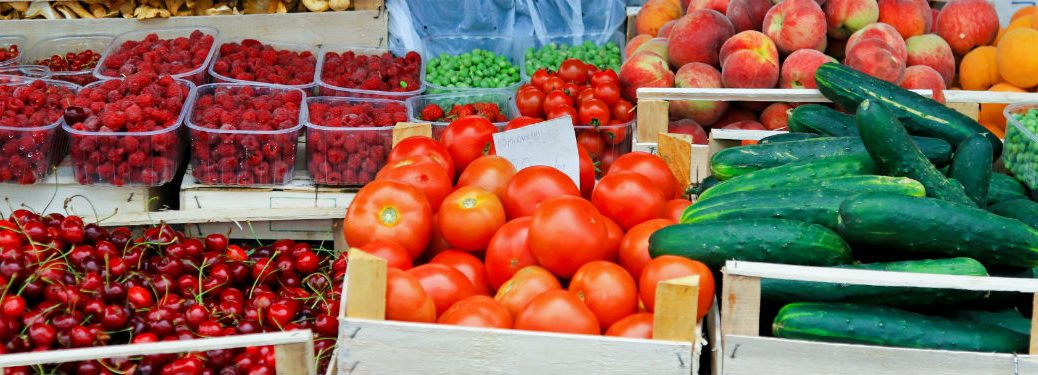 Collection of fruits and veggies in farmers market