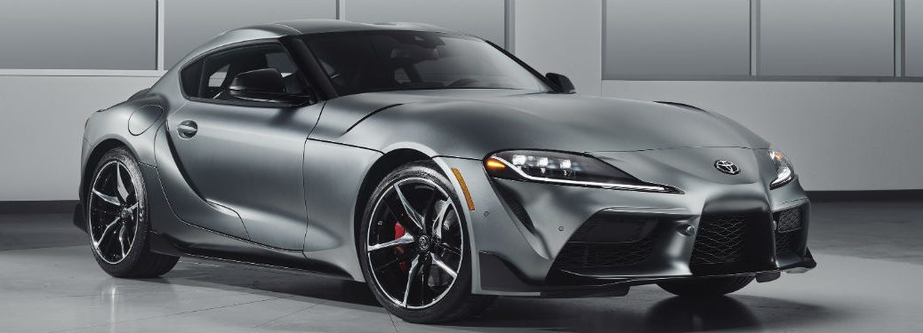 2020 Toyota GR Supra exterior front fascia and passenger side in gray room