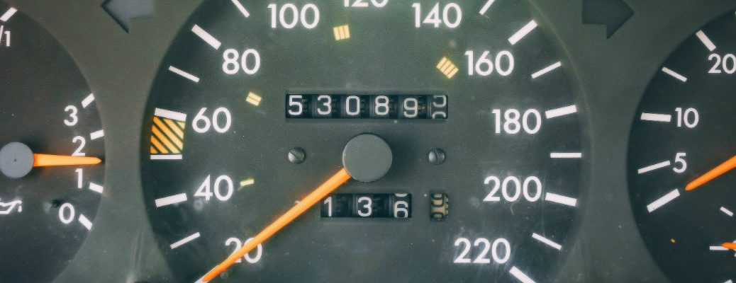 Close up of an odometer